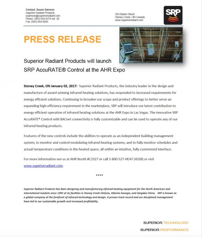 SRP AccuRATE® Controls Press Release